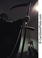 It's time to die - Grim reaper menace a young woman scared