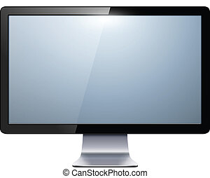tv monitor - lcd tv monitor isolated, vector illustration.