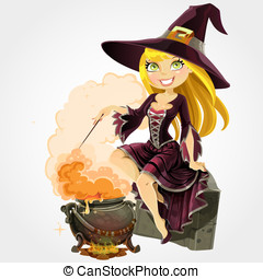 Beautiful witch with boiler potion