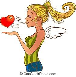 Valentine`s day girl sending heart