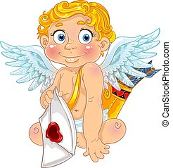 Cupid with love letter and arrows.