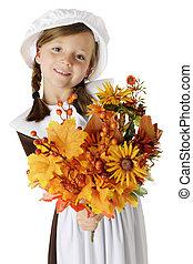 "Pilgrim Bouquet - A beautiful elementary ""pilgrim"" girl..."