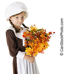 Shy Pilgrim with Bouquet - A shy young elementary pilgrim...