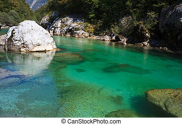 Soca river, Slovenia - View of Soca river in Slovenia,...