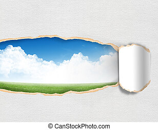 Torn paper with landscape sky in opening background