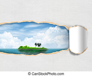 Torn paper with landscape island sky in opening background