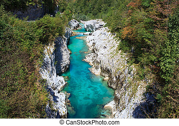 Soca river, Slovenia - View of Soca river in Slovenia,...