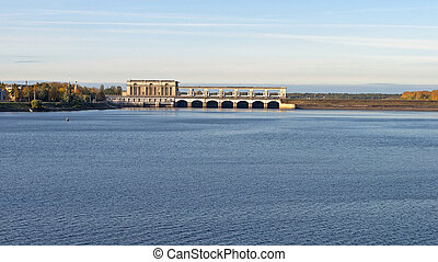 Uglich hydroelectric power plant on the Volga - View of the...
