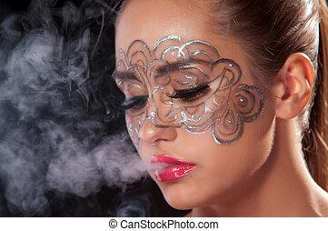 joven, mujer, velo, Cigarrillo