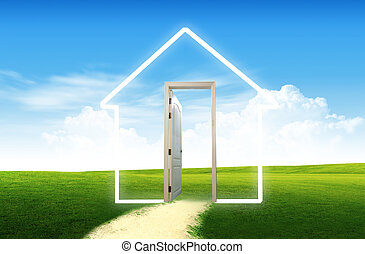 Door open to the new world, for environmental concept and...