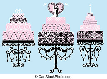 fancy cakes, vector set