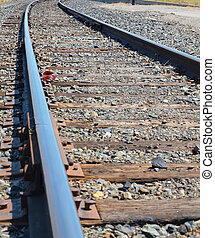 One Set of Railroad Tracks on a Sunny Day