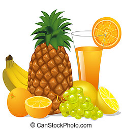juice and fruits banana pineapple orange grape -...