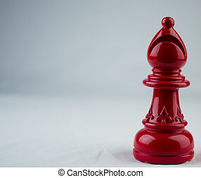 Red Bishop chess piece