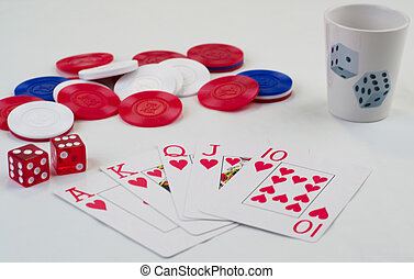 Winning Hand - Poker cards, shotglass and dice