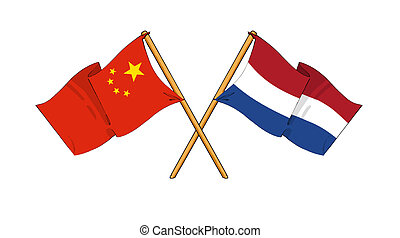 China and Netherlands alliance and friendship - cartoon-like...