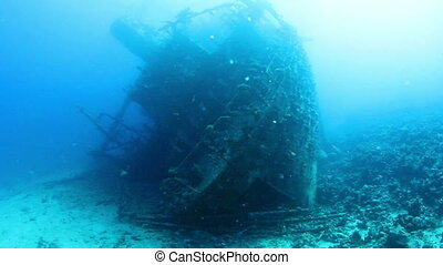 Wreck Gainis D - Ship wreck Gainis D underwater view. Red...