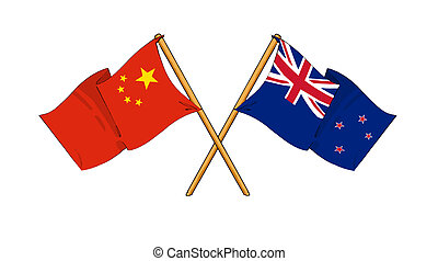 China and New Zealand alliance and friendship - cartoon-like...