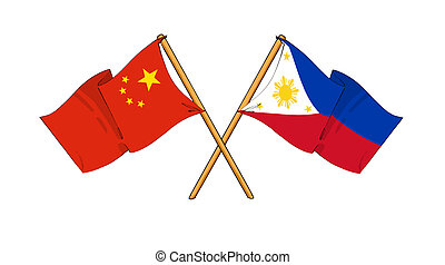 China and Philippines alliance and friendship - cartoon-like...