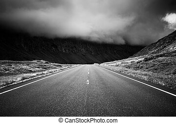 Road perspective black and white colors Norway