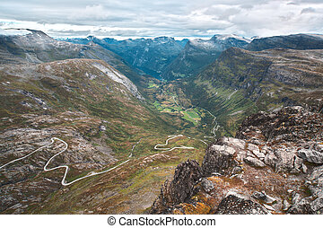 Norway landscape - Norway high mountains landscape with road...