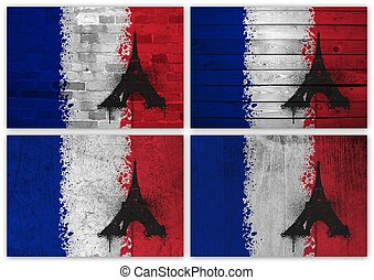 French flag collage
