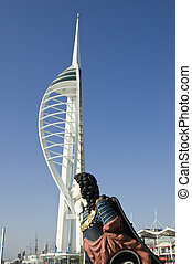 Figurehead and Spinnaker Tower, Por - View of the ship...