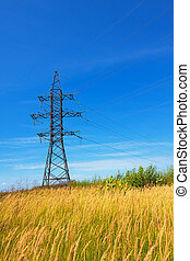 High voltage lines and blue sky - High voltage lines against...