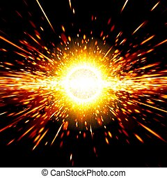 Abstract science background - big exploding in space, big...