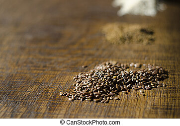 Close-up of Linseed on a wooden surface