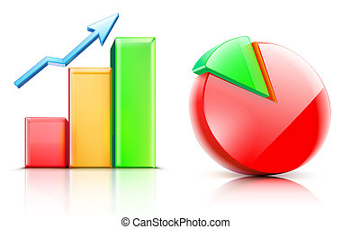 shiny bar and pie chart - illustration of shiny bar and pie...