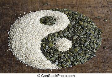 el, Yin, yang, creado, afuera, calabaza, semillas,...