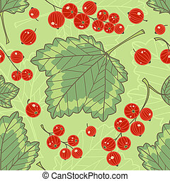 Red currants seamless pattern Summer vector background