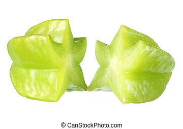 Star Fruit on White Background