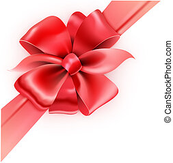 red bow - Vector illustration of gift wrapped white paper...