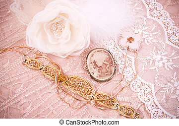 lace with flower, golden jewelry - White lace with flower,...