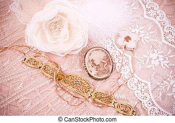 Renda, flor, dourado, jóia