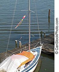 Sailing ship moored on lake Mueritz, Mecklenburg-Western...