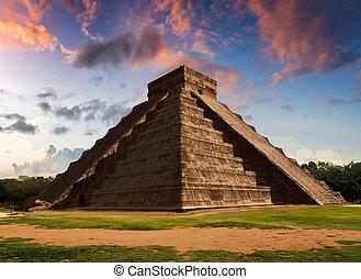itza, Chichen, equinoccio, serpiente, pirámide, -, Kukulkan,...