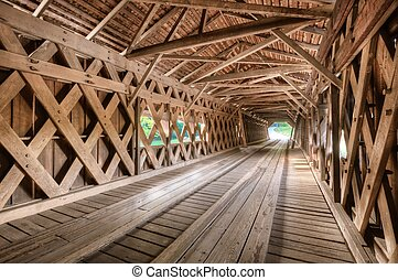 Covered Bridge - Interio of an old covered bridge in Watson...