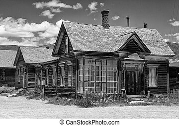 Old buildings in Bodie, an original ghost town from the late...