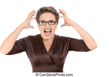 Aggressive screaming businesswoman isolated on white...