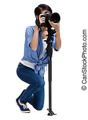 Competent woman-photographer takes snapshots - Woman takes...