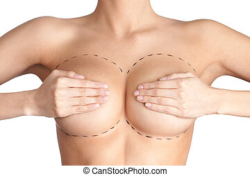 Boobs correction Plastic surgery, isolated, white background...