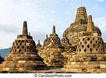 Borobudur temple stupas, Yogyakarta, Java island, Indonesia...