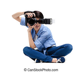 Female-photographer takes images - Female-photographer takes...