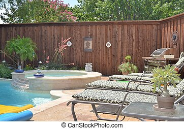 Backyard grill - Beautiful deck beside pool in the suburbs,...