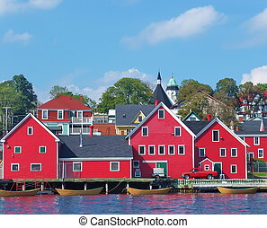 Red City Waterfront Life - Town of Lunenburg Nova Scotia,...