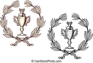 Sport trophy with laurel wreath