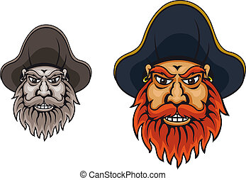 Pirate captain in hat for mascot design